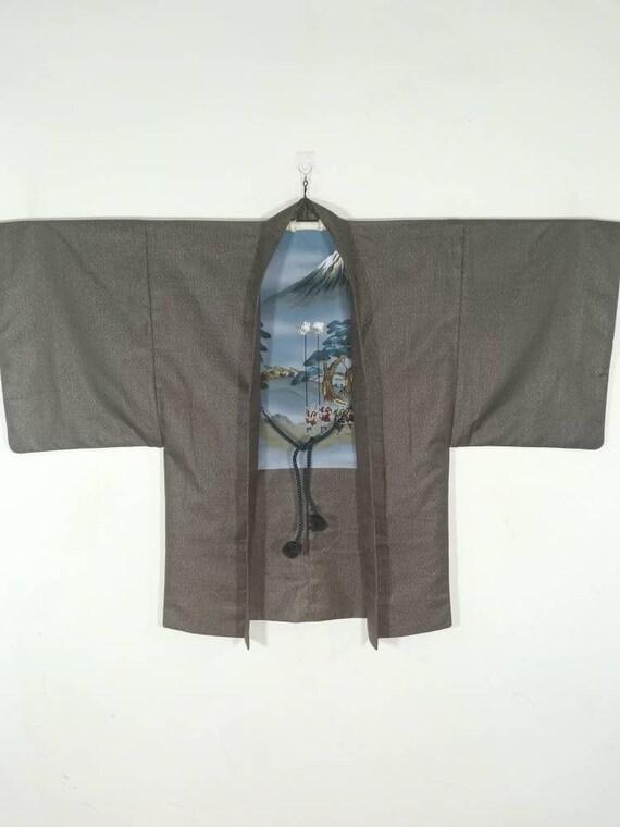 Japanese Brown Mt. Fuji Kimono Jacket Haori   Flor
