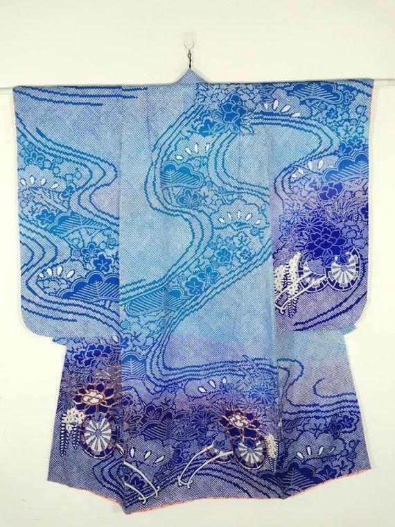 Japanese Kimono Robe Blue Floral Kid's Youth's Kim