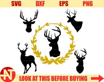Deer SVG Deer Head SVG Deer Antler Svg svg files for Cricut svg Silhouette svg dxf png eps svg files