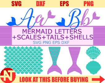 Mermaid Svg Scales Svg Letters SVG Shell SVG Mermaid Tails SVG files for Cricut Silhouette Mermaid cut files svg dxf eps png lfvs