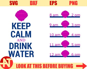 Water Tracker svg Drink water svg Mermaid shell Water Tracker svg Mermaid water bottle svg files for Cricut Silhouette Vector cut files dxf