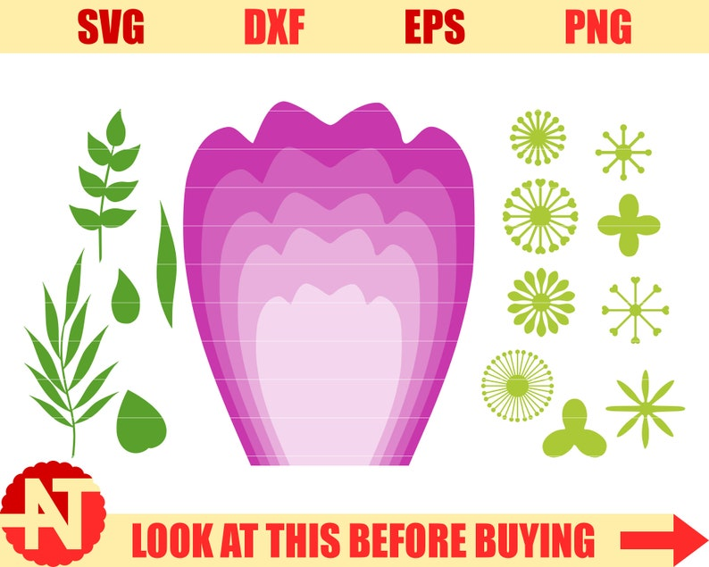 Giant Paper Flowers Svg Diy Giant Flowers Template Paper Rose Etsy