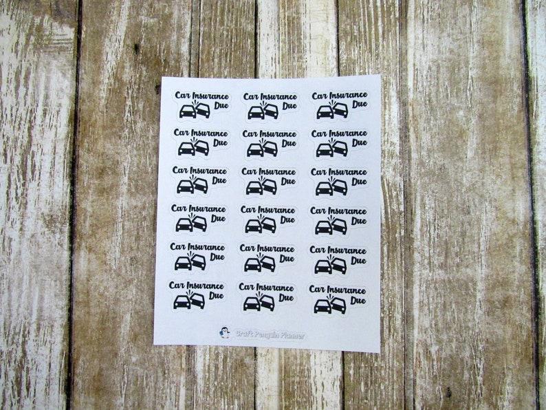 Car Insurance Due Sticker Car Insurance Bill Due Stickers Etsy