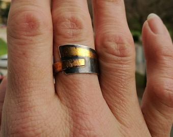 My first Keum boo ring! Chunky silver ring with golden accents
