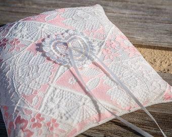 Pink Wedding Bearer, Pink Ring bearer Pillow, Pink Wedding Pillow, Pink ring holder,  Pink White Bearer,  Lace Ring Pillow