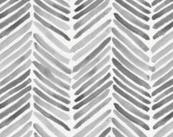 Organic Cotton Fabric-Brand New-Carousel Design-Gray Painted Chevron 1 yard in package