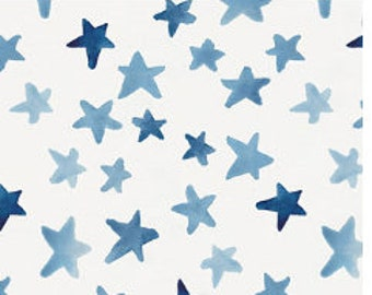 New Organic Cotton 1 yard-blue watercolor stars, carousel design brand new never used