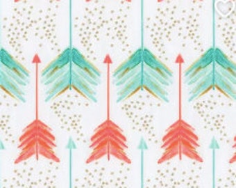 Organic Cotton Fabric-1 yard, Coral & Teal arrows by Carousel Design. Brand New in package
