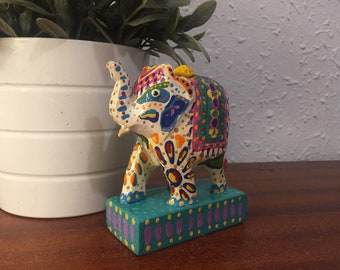 Hand painted wooden elephant