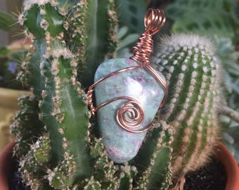 Ruby in Fuchsite Copper Wire Wrapped Pendant