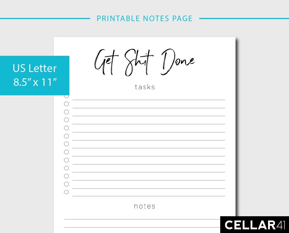 get shit done printable to do list instant download | etsy
