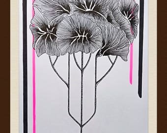 Drawing flowers - felt and neon pink ink - Lechapeaudlagamine - inspiration the 20s