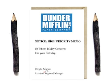 Dunder Mifflin Birthday Card - Funny The Office TV Series Birthday Card - Humor Card - Card for Office Fans - G53