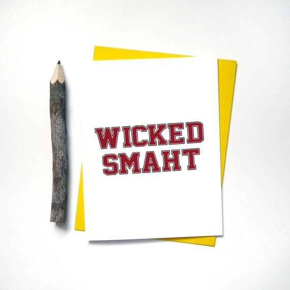 Wicked Smart Smaht Graduation Card Funny Card Boston Etsy