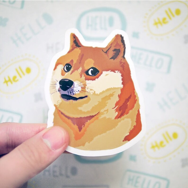 Doge Sticker Shiba Inu Sticker Funny Meme Stickers Cute Etsy