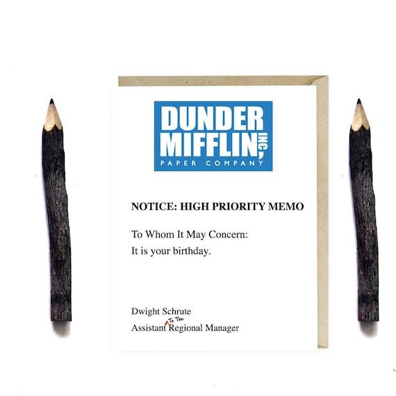 Dunder Mifflin Birthday Card Funny The Office TV Series Etsy