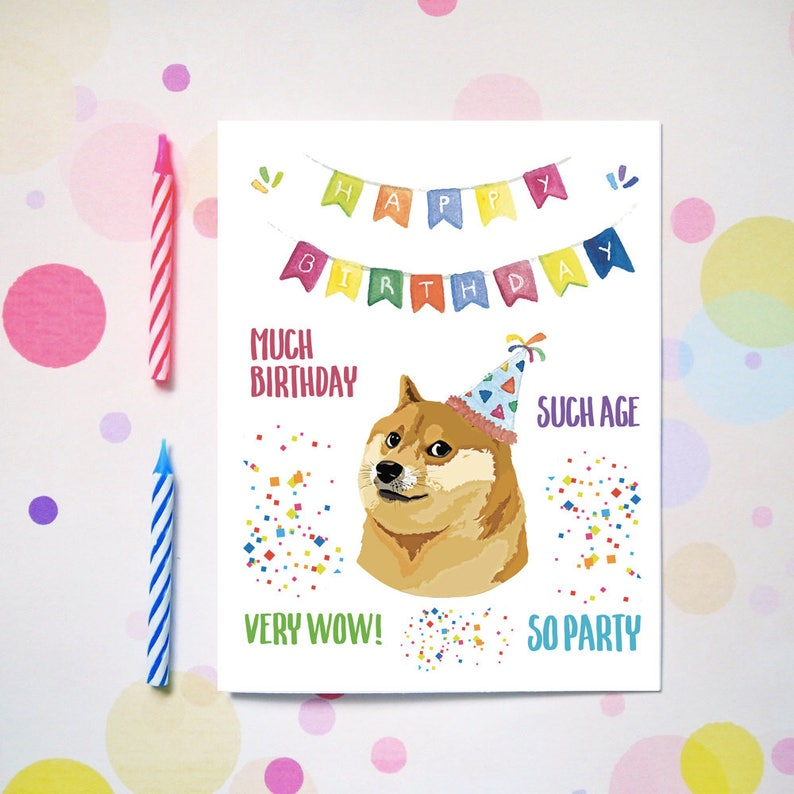Funny Doge Birthday Card For Him Her Bestfriend Friends
