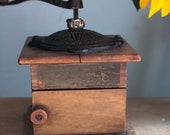 Antique late 1800 39 s waddells improved wood coffee mill grinder with cast iron handle and decorative door.