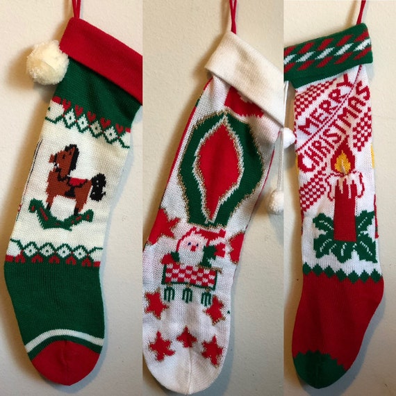 Vintage Christmas Stockings.Vintage Christmas Stockings Candle Santa In Sleigh And Rocking Horse