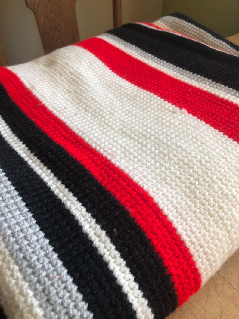 red grey and white bed spreadafghan vintage hand crocheted black