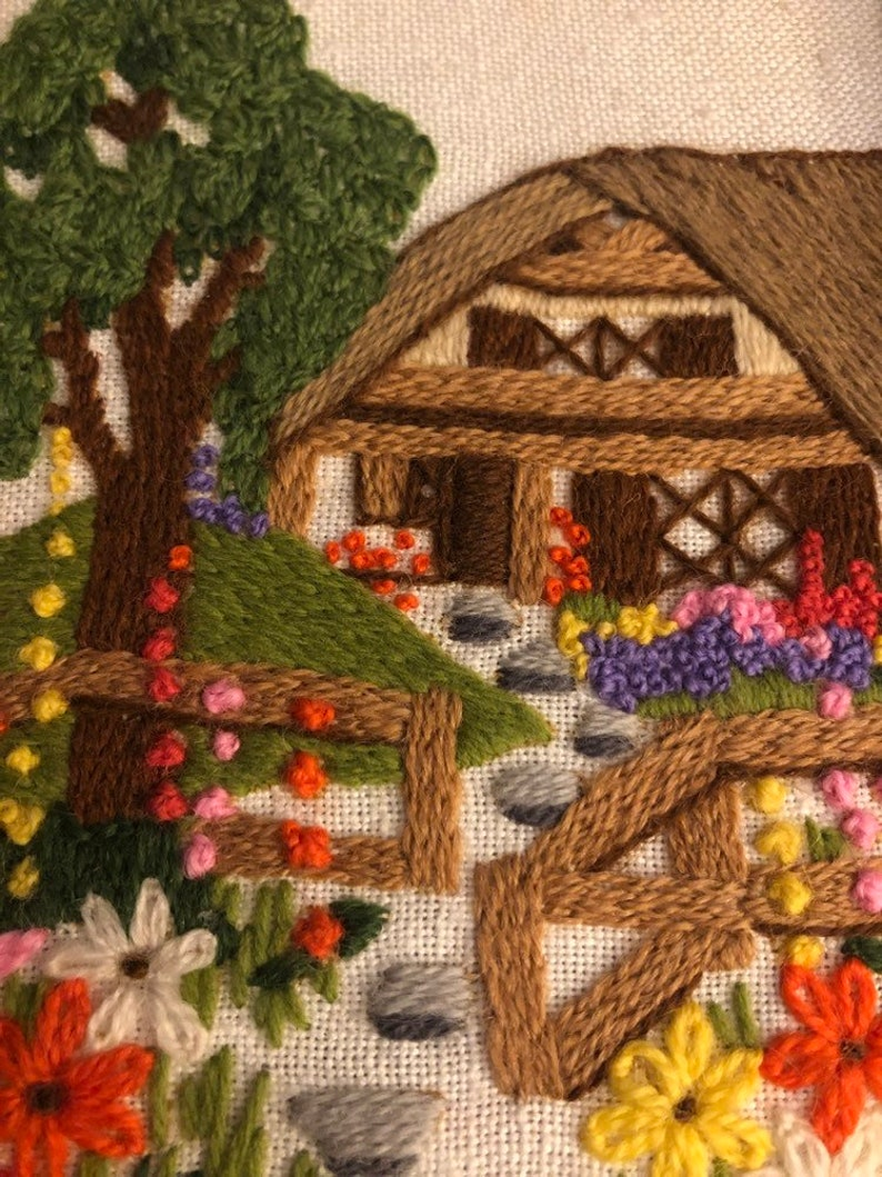1979 Sunset Designs crewel work of English Cottage wallhanging