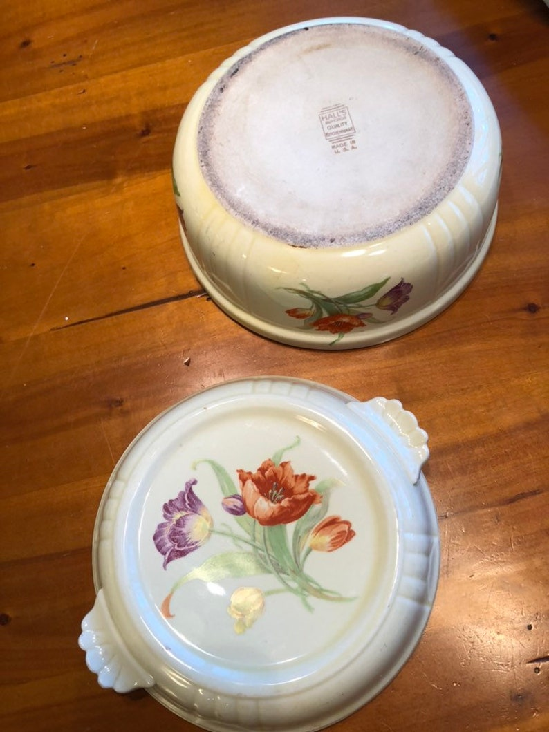 Antique 30s Art Deco Halls Superior Quality  Kitchenware covered casserole  dish with purple and red poppies