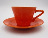 Homer Laughlin Harlequin Red Teacup and Saucer