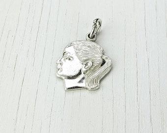 profile 2 or 5 Pendant  charm unicorn head 1 gold rose 20x38mm rose gold metal