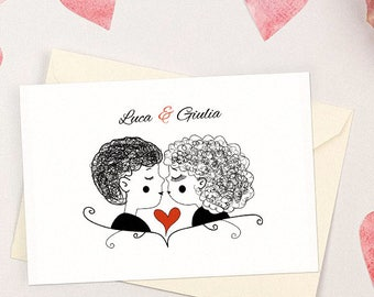 Romantic wedding invitation with Kiss. Simple and witty. Personalized Wedding Invitations.