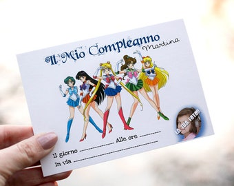 Sailor Moon girl birthday invitations. Customizable with photo and name.