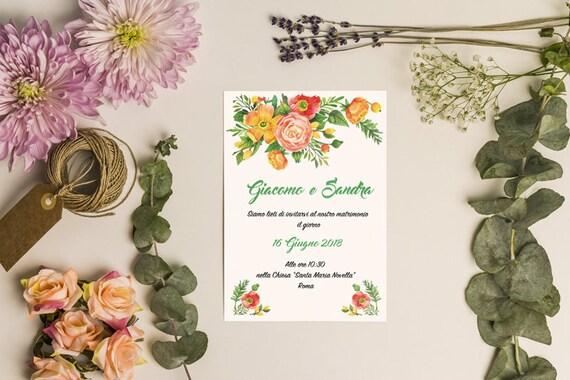 Partecipazioni Matrimonio Stile Rustico : Partecipazioni matrimonio stile floreale rustico sui