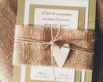 Participation in Country Chic wedding with canvas, twine and heart in cardboard