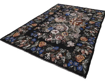 Items Similar To Vintage Rose Kilim Rug Floral Carpet Area Rugs With