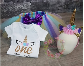 616845e55e0 Unicorn Birthday Outfit 1st Birthday Girl Outfit First Birthday Girl Cake  Smash Girl Outfit Unicorn Birthday Tutu Girls 1st Birthday
