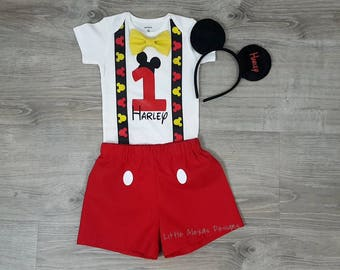 Mickey Mouse First Birthday Outfit Boy Suspenders Bow Tie Shorts 1st Smash Cake