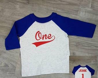 Baseball Birthday Shirt Boys T Raglan 1st First