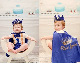 Royal Prince 1st Birthday Outfit First Boy Cake Smash Suspender Bow Tie Crown