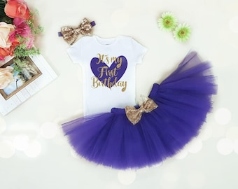 Baby girl 1st birthday outfit, 1st birthday girl outfit,  Purple And Gold 1st Birthday, 1st Birthday Tutu Set, Cake Smash girl outfit