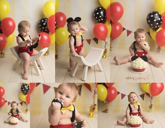 Mickey Mouse Cake Smash Outfit Boy First