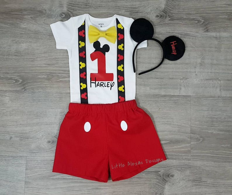 14805976ba8b9 Mickey Mouse First Birthday Outfit boy Suspenders Bow tie
