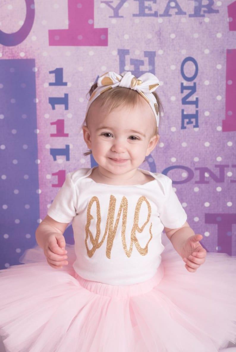 Girls Birthday Outfit Pink Gold Birthday Girl First Birthday Outfit girl Baby Girl 1st Birthday Outfit Pink and Gold Birthday Outfit