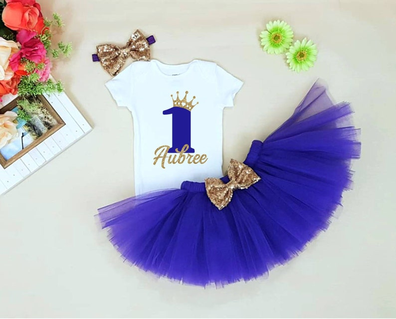 82d87b8f5e8d First birthday outfit girl Purple And Gold 1st Birthday 1st