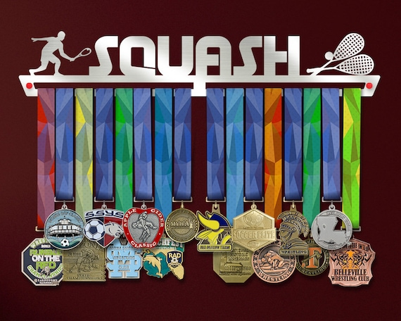 Stylish Squash Medal Hanger Display Wall Decor Customized Medal Holder Rack Racquet Sport Gift Brushed Steel