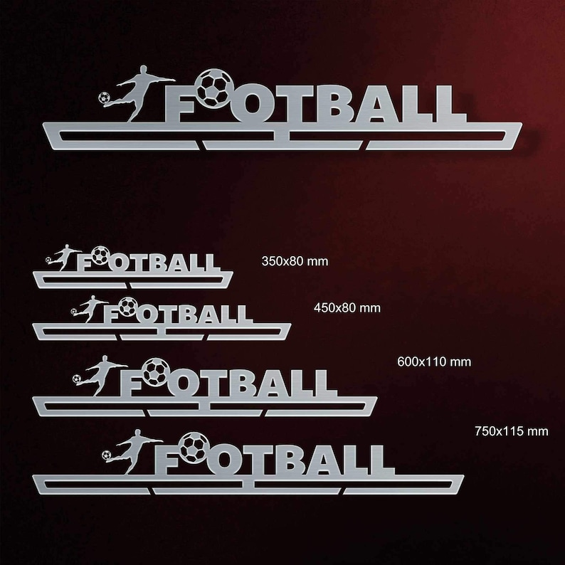 Inspirational Customized Medal Holder Gift for Football Lover Wall-Mounted Metallic Medal Display Football Medal Hanger by VictoryHangers