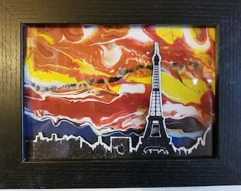 3d Pour Art - Paris Skyline with Eiffel Tower (Landscape)