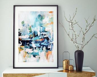 Ordinaire Abstract Art, Abstract Print, Large Modern Wall Art, Abstract Painting  Print, Blue Wall Decor, Living Room Wall Art, Large Art Prints