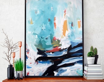 LARGE ABSTRACT Art Print Canvas Art, Wall Art, Blue Abstract Print, Giclee Print, Large Abstract Art Print from Painting Modern Abstract Art
