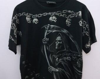 37897d54748e Vintage Skull Shirt Big Logo Round Neck Streetwear Top Tee T-Shirt Size M