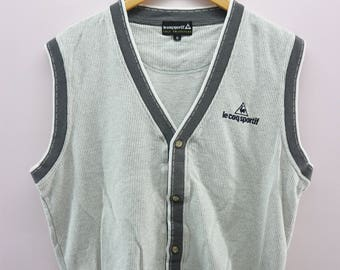 e99b4f8069f27e Vintage Le Coq Sportif Tank Top Shirt Embroidery Spell Out Fully Button V  Neck Sportswear Streetwear Size M