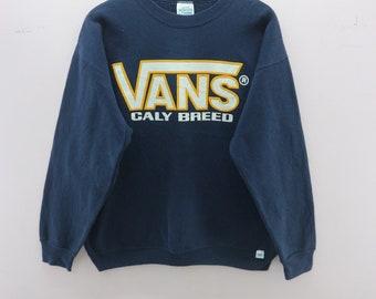 275fb3b728b1 Vintage VANS Sweatshirt Big Logo Skatewear Skateboard Streetwear Round Neck  Sweater Made In USA Size L